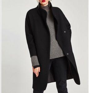 Zara Long Black Coat With Wraparound Collar